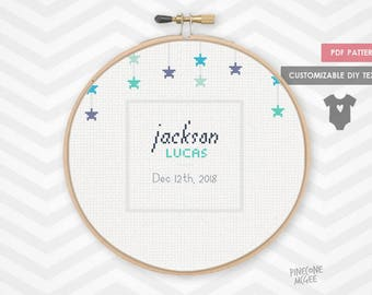 BIRTHDAY STAR RECORD counted cross stitch pattern, new boy birth announcement xstitch pdf