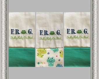 Three F.R.O.G  Personalized Embroidered Burp Cloths, 3 Frog Burp Cloths,  F.R.O.G. (Fully Rely On God) Burp Cloth, Baby Shower Gift