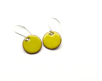 Yellow Enamel Earrings - Lightweight Jewelry for Everyday Wear - Sterling Silver - Summer Gift for her  / Candies
