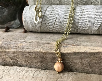 Moonstone Necklace, Peach Moonstone