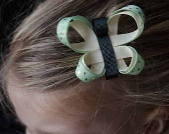 Hair Bow - Mint and Cream Butterfly Ribbon Sculpture