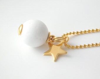 GALA necklace long gold/white with golden star