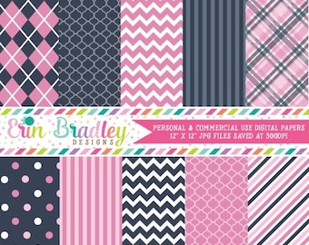 80% OFF SALE Digital Papers Personal and Commercial Use Pink and Blue Patterned Backgrounds Instant Download