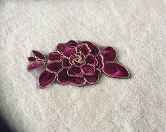 Fuchsia and Gold 6.5 cm width lace applique