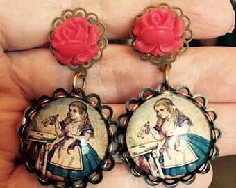 Alice in Wonderland - Red Rose Earrings