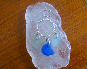 Blues Trio Real Lake Superior Beach Glass Pendant Necklace