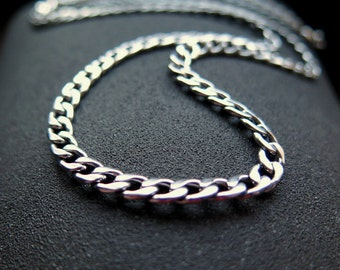 mens necklace. stainless steel jewelry. 22 inch silver curb chain for men. made in Canada.