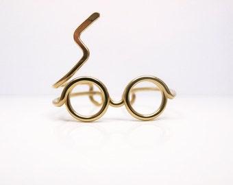 Harry Potter Ring, Goldring, Gläser Ring, Blitz Narbe, Gold gefüllt oder Sterling Silberdraht wickeln, zarten Ring, verstellbar, Geeky Geschenk