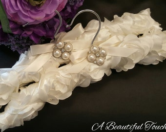 Ivory Satin Fabric Bridal Hanger with Jeweled Pin