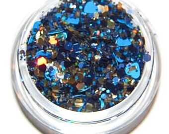Blue and Gold Sparkle Mix, Solvent Resistant, Glitter Mix, Blue Glitter Mix, Raw Glitter Mix, Nail Polish, Nail Art Glitter, Blue Glitter
