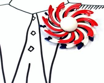 Vintage Enamel Swirl Flower Brooch - Red White Blue