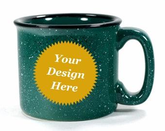 CUSTOM Forest Green Camp Mug - ceramic speckled coffee cup