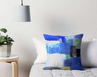 Abstract Pillows in Blue - Modern Geometric pillows -  Design from an original ABSTRACT painting