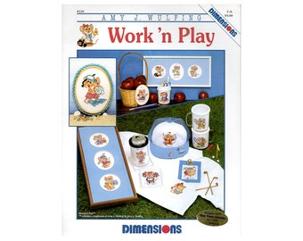 Work 'n Play Mice Cross Stitch Leaflet, Mice Cross Stitch, Children's Cross Stitch, Country Cross Stitch Leaflet, by NewYorkTreasures