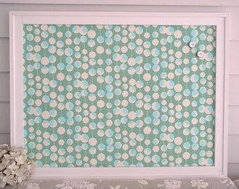 Framed Magnetic Bulletin Board with Designer Fabric in Teal Green and Aqua - 20.5 x 26.5 Cottage Magnet Board Memo Message Board