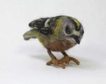 Lifelike Goldcrest Needle Felted Bird