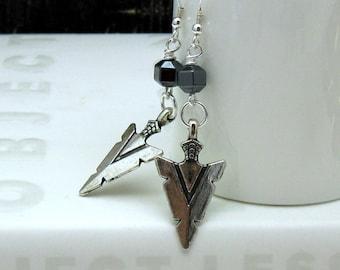 Silver Arrowhead Modern Dangle Earrings, Tribal Geometric Hematite Drop Earrings, for her Under 50, Girlfriend Gift