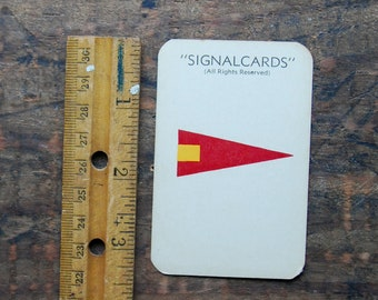 "Vintage Signal Card, WWII Era, Navy International Code Flag, Special Pennant "" Fourth Repeat """