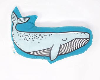 plushie, whale pillow, nautical baby shower, nautical nursery, animal pillow, humpback whale toy, nautical decor, stuffed whale, blue whale