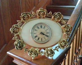 Matson or Stylebuilt Gold Rose Oval Filigree Ormolu Clock