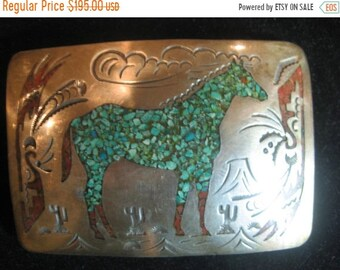 ON SALE Sterling Silver Belt Buckle Marked HC on the back Hyson Craig ? Navajo ?