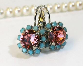Turquoise coral Earrings, Aqua Blue Peach Drop earrings Halo Earrings swarovski rhinestones Crystals Silver finish,Rose Peach,SE96