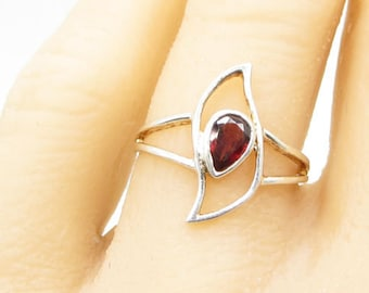 925 sterling silver - faceted red garnet tear drop solitaire ring sz 6.5 - r1209