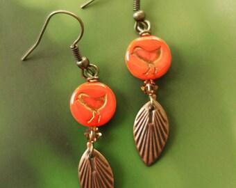 Red Bird Pierced Earrings. Gift For Her