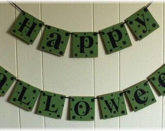 Happy Halloween Banner Garland Bright Green Wood Holiday Decoration 4 x 4 Tiles polka dots