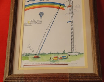 Phil Dimmer framed signed rainbow watercolor