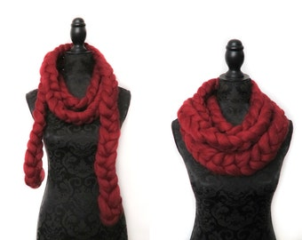 Handmade Chunky infinity scarf, chunky chain scarf 100% chunky merino wool non mulesed wool 80+ colours red ruby knitting extreme knitting
