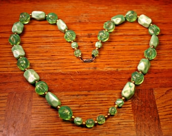 """Retro Green Necklace, Beads, Mid Century, Acrylic, Green, Pale Green, Celery, Chunky, Matinee Length, 23"""", FREE US Shipping"""