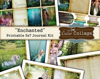 Verzaubert druckbare Journal Kit, digitale Collage Blatt, Fantasy-Journal, Fee Journal Kit, Meerjungfrau druckbare, Zeitschrift, CalicoCollage