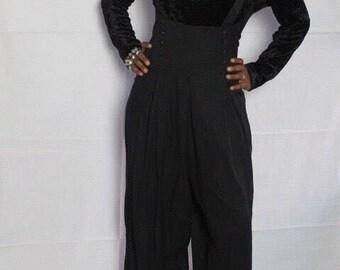 Vintage 1980s 1990s Cruched Velvet Turtleneck Wideleg Trouser Overalls Jumper Jumpsuit Size L Keepers Vintage