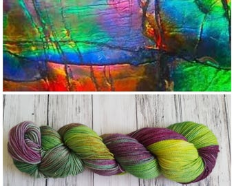 Hand Dyed Sock Yarn, Merino, Nylon, Stellina, Sparkle, Perfect for Those Special Socks, Shawls and Other Lightweight Accessories - Ammolite