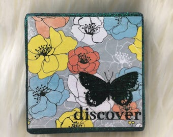 Discover Butterfly Mixed Media Mini Wood Block RTS FREE SHIPPING