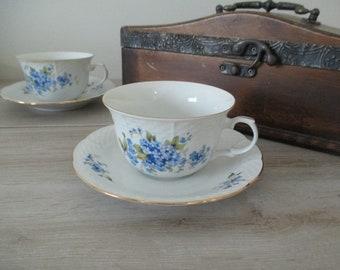 Tea Cup and Saucer Thun Czechoslovakia