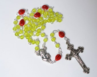 Ladybug Rosary Necklace, Rosary for Girl,  Czech Glass Catholic Rosary Necklace, Traditional 5 Decade Catholic Rosary, First Communion