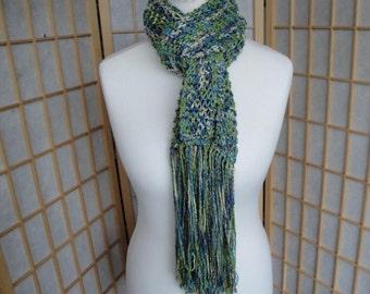 green glitter scarf, glamorous wrap, CLEARANCE, woman knit scarf, turquoise wrap, Italian yarn wrap, tasselled scarf/wrap, hand-knit scarf