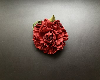 Genuine leather red flower brooch, stand out in a crowd
