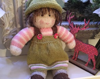 Hand knitted Jemima Dolly - 14 inches tall -removable dress and hat - hand washable 100% pure Shetland wool