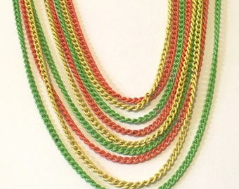 Mod Chain Necklace Vintage 60s Day Glo Necklace Orange, Yellow, Chartreuse Enamel on Brass Chain