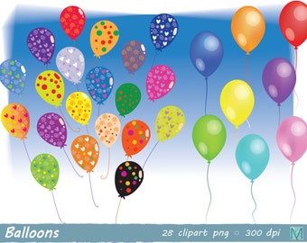Balloons images clip art - birthday - Bunting - birthday Invitation - instant download digital file - PNG
