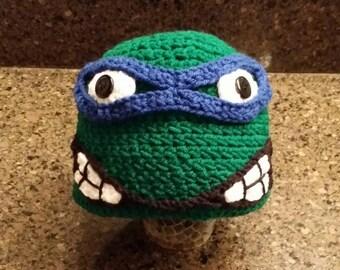 Ninja turtle Leonardo crochet hat