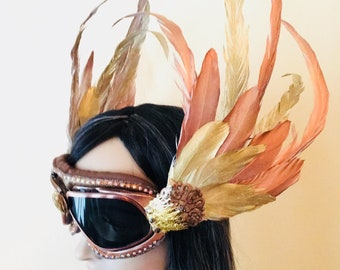 Burning Man Goggles, Festival Goggles, Steampunk Goggles, Valkyrie Headdress, Feather Goggles, Phoenix Goggles, Phoenix headdress