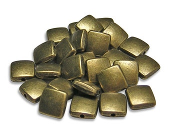 """Antique Bronze Beads 8mm Antique Brass Beveled Flat Square Beads 8"""" Strand (2520) Metal Beads"""
