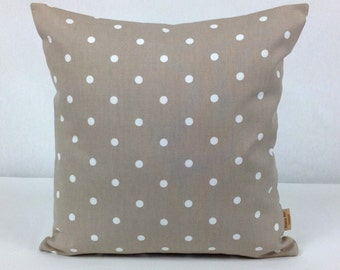 24x24 pillow, Throw Pillow Cover, Decorative Throw Cover, taupe, White, Polka Dot ,Spots,Throw pillow cover, 24 inch, Pillow Case, Handmade