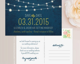 Twinkle Lights Rustic Wedding Save the Date Postcard / Magnet / Flat Card - Outdoor Wedding Save the Date, Rustic Wedding, String of Lights