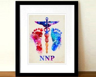 "Watercolor Neonatal Nurse Practitioner - Caduceus -baby feet print,8.5""x11"", Nurse Practitioner Gift, Neonatology, Pediatric print, NNP gift"