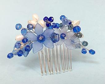 Crystal Hair Comb, bridesmaid hair comb blue, bridesmaid hair accessories, flower hair combs, hair combs for wedding, bridesmaid hair piece